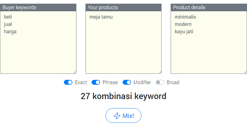 keyword mixer