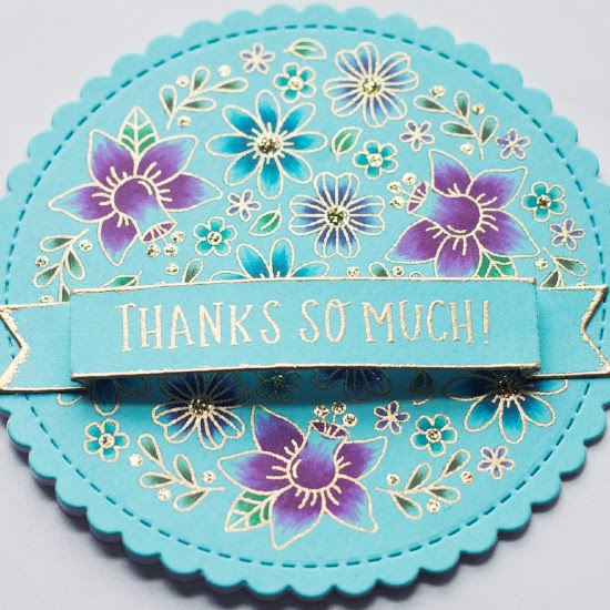 Thank You Floral Circle Card by June Guest Designer Amy Tollner | Floral Roundabout Stamp Set, Circle Frames Die Set, and Banner Trio Die Set by Newton's Nook Designs #newtonsnook #handmade
