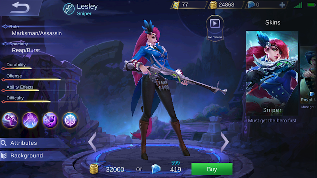 Mengenal Lesley, Hero baru dengan Job Sniper di Mobile Legends