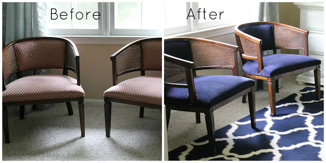 Use a curtain to reupholster chairs (Love the navy velvet!)