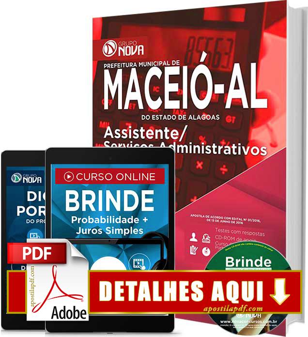 Apostila Prefeitura de Maceió 2016 Assistente de Serviços Administrativos Impressa