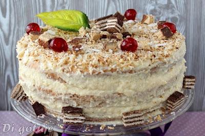 Tort Di z wafelkami i kokosowym kremem z kaszy manny