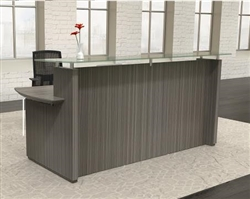 Gray Reception Desk with Glass Top