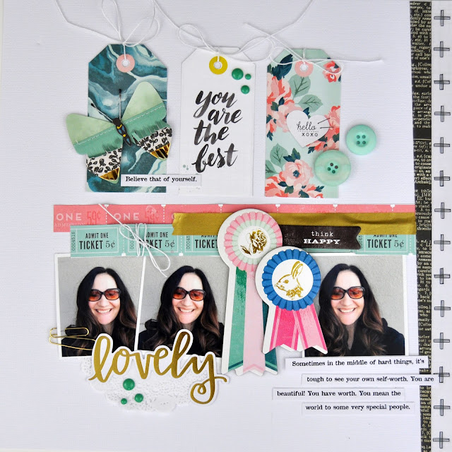 """Lovely"" scrapbooking layout by Jen Gallacher from www.jengallacher.com. #scrapbooking #scrapbooklayout #jengallacher"