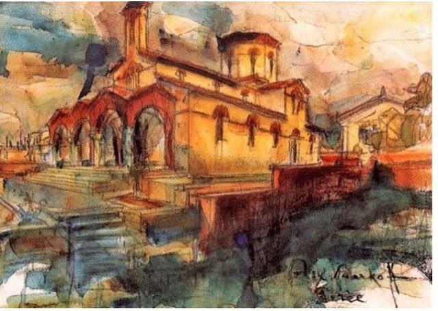 Η εκκλησία Αγία Αικατερίνη στην Καστέλλα, όπως τον απεικόνισε ο Αλέξανδρος Μπαρκόφ