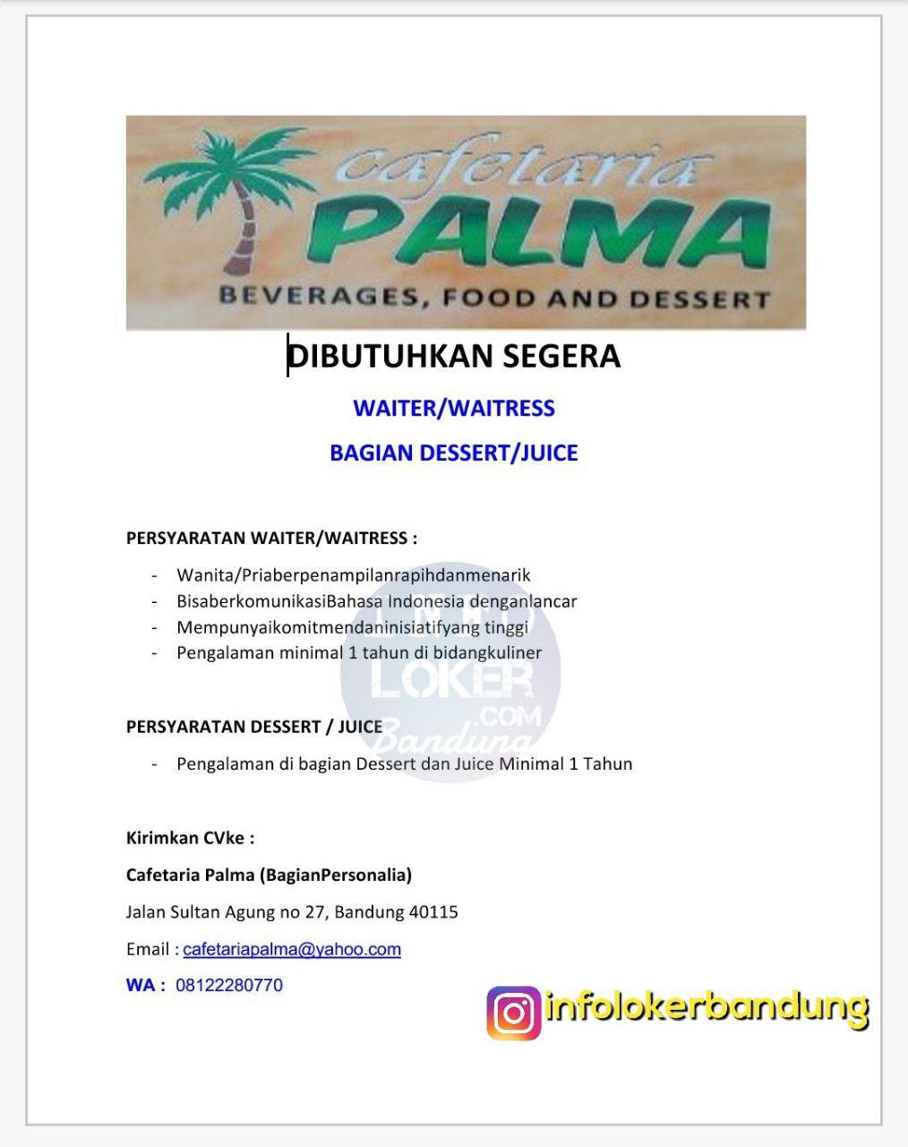 Lowongan Kerja Cafetaria Palma Bandung November 2017