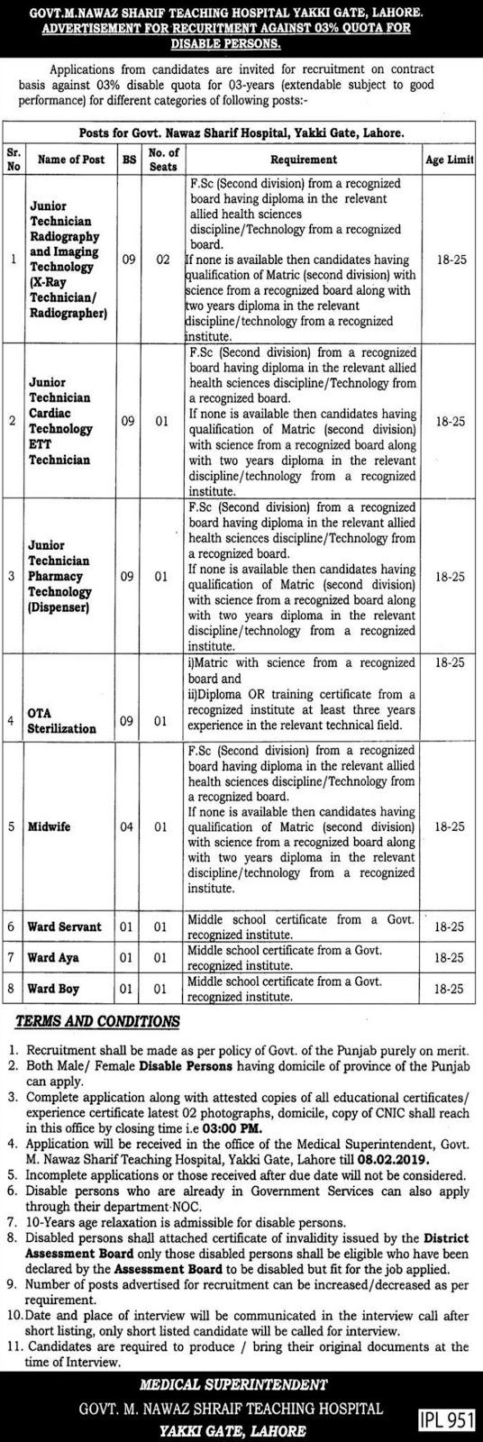 Govt M. Nawaz Sharif Teaching Hospital Yakki Gate Lahore Jobs 2019