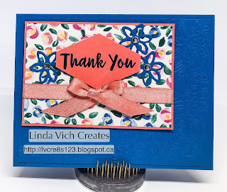 Linda Vich Creates: Abstract Impressions Thank You Card. Embossing with the Springtime Impressions Thinlits adds a lovely texture to a simple card.