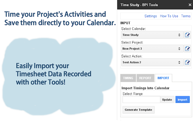 Time your Project's Activities and save them directly to your Calendar.