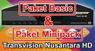 Paket Basic dan Paket Minipack Transvision Nusantara HD