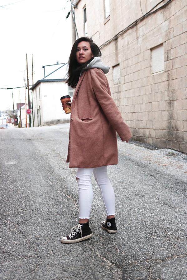 Camel Coat, White Jeans, Black Converse Sneakers, Sweatshirt