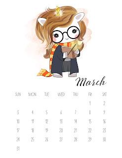 Unicornios Pop: Calendario 2019 para Imprimir Gratis.