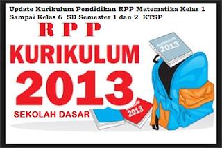 Update Kurikulum Pendidikan RPP Matematika Kelas 1 Sampai Kelas 6  SD Semester 1 dan 2  KTSP
