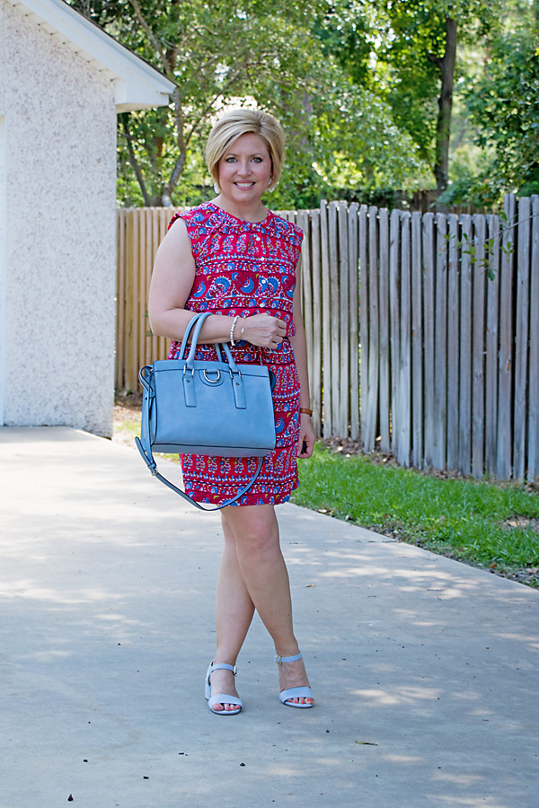 blue sandals, summer outfit, red dress