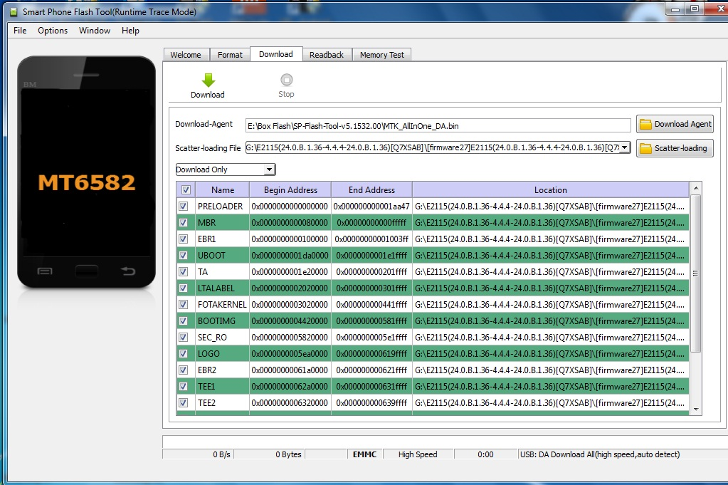Sony] Firmware Sony E4 Dual E2115 MT6582 Scatter File