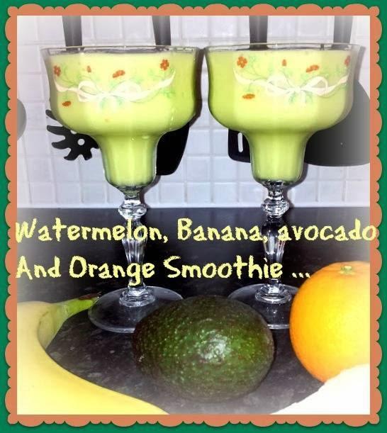 Watermelon, Banana, Avocado And Orange Smoothie
