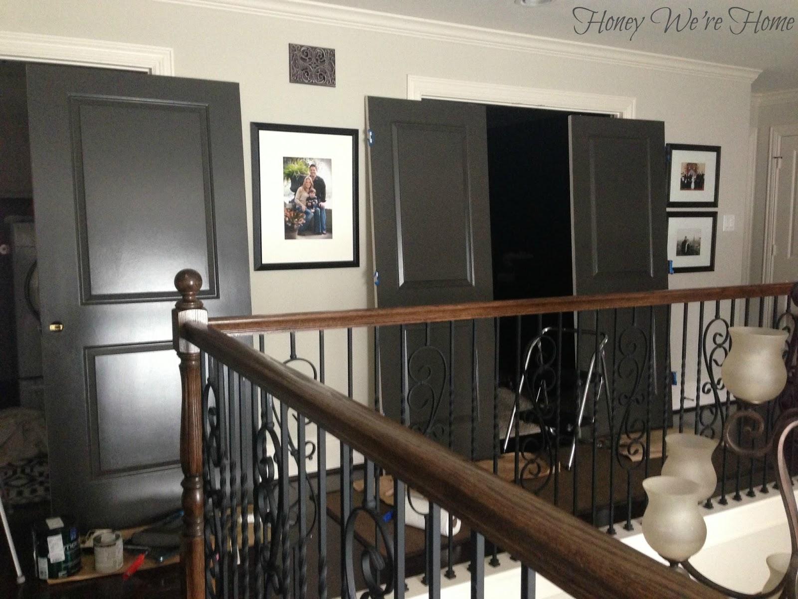 Painted dark grey doors honey were home