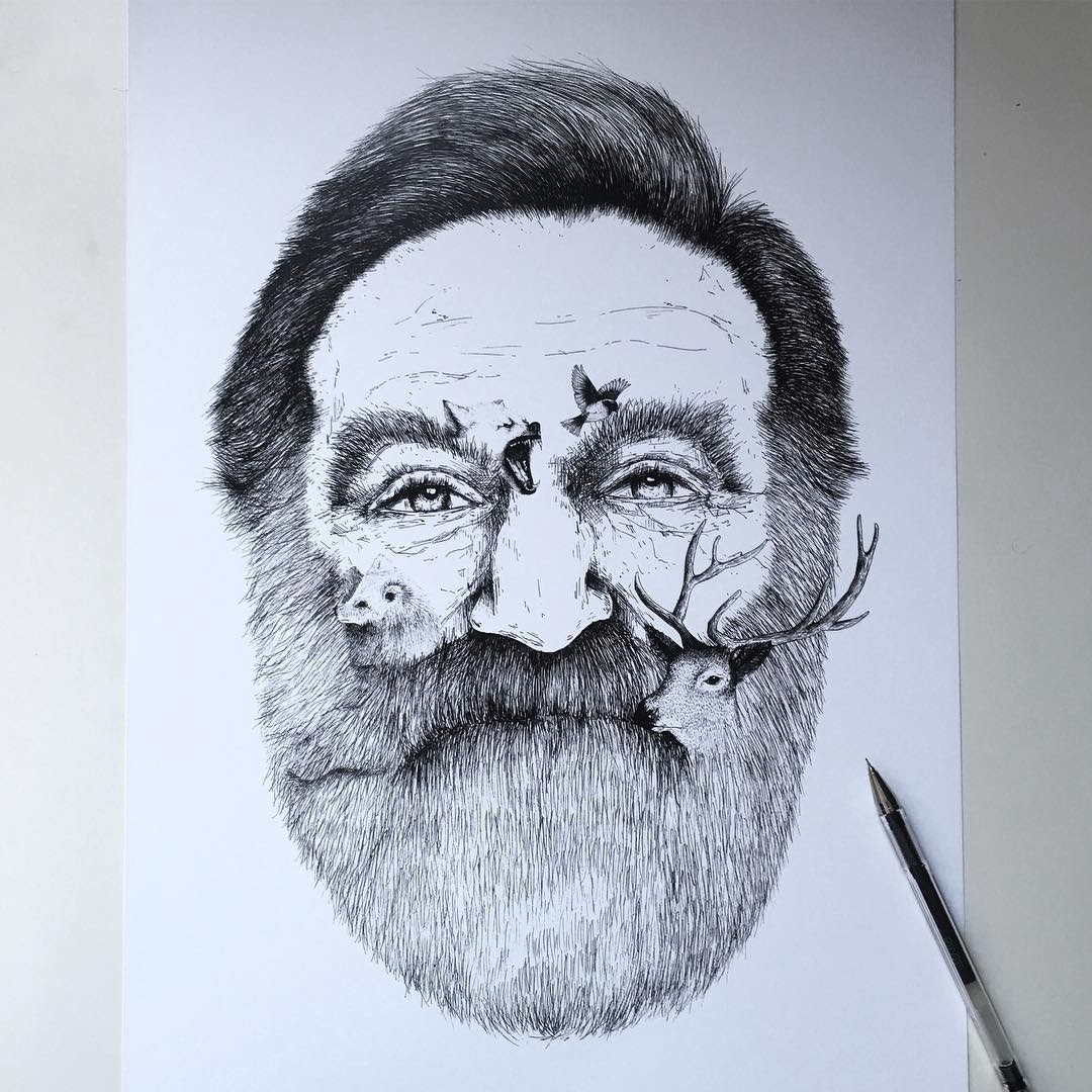 01-Robin-Williams-Alfred-Basha-Diverse-Black-and-White-Surreal-Drawings-www-designstack-co