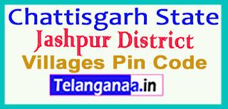 Jashpur District Pin Codes in Chattisgarh State