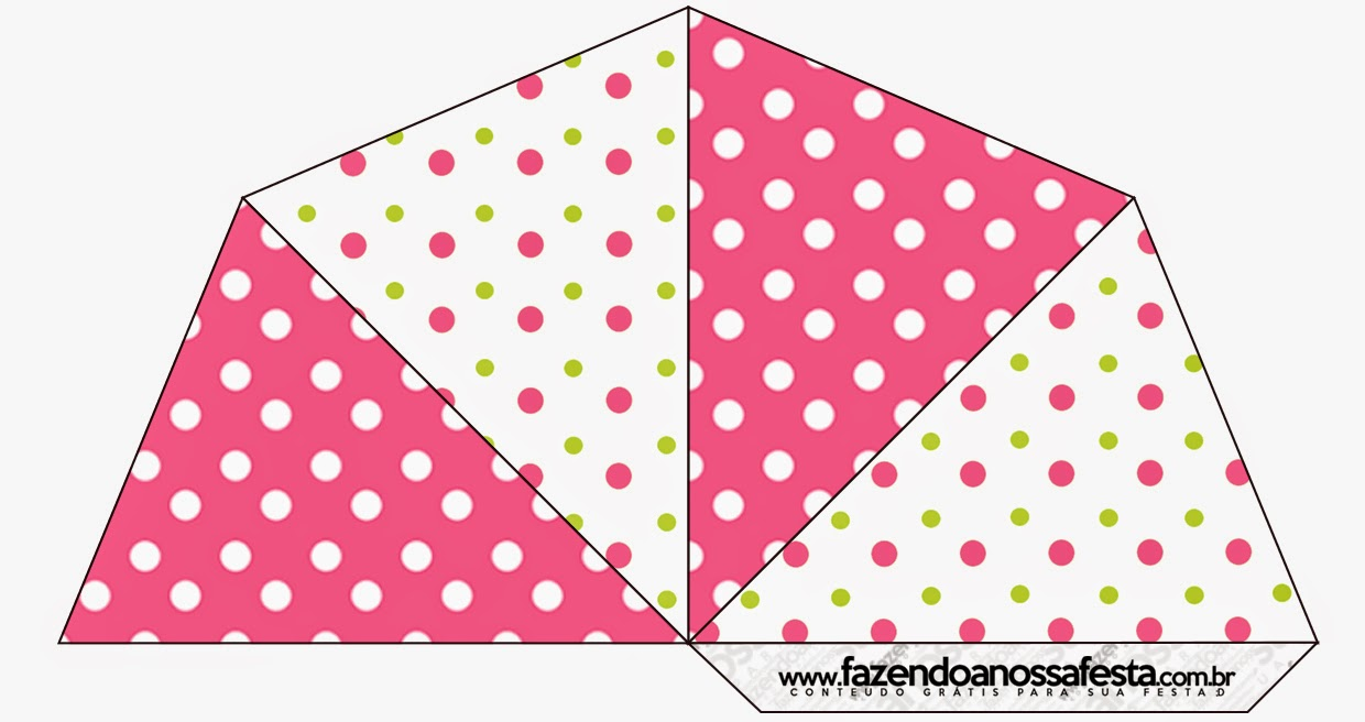 Pink, Green and White Polka Dots Free Printable Cones.