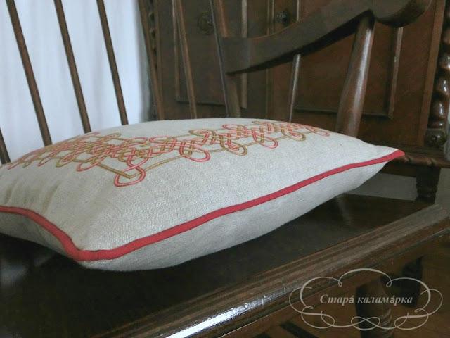 вышивка гладью, подушка с вышивкой, стебельчатый шов, итальянская вышивка