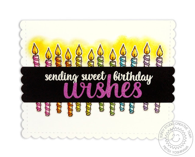 Sunny Studio Stamps Heartfelt Wishes Candle Birthday Card by Mendi Yoshikawa