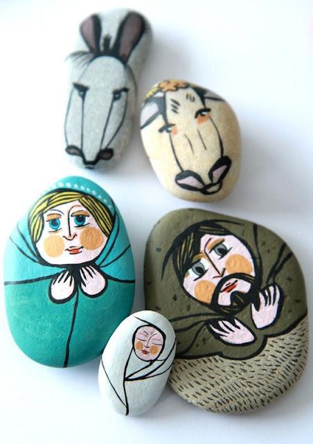 pesebre diy creado con piedras