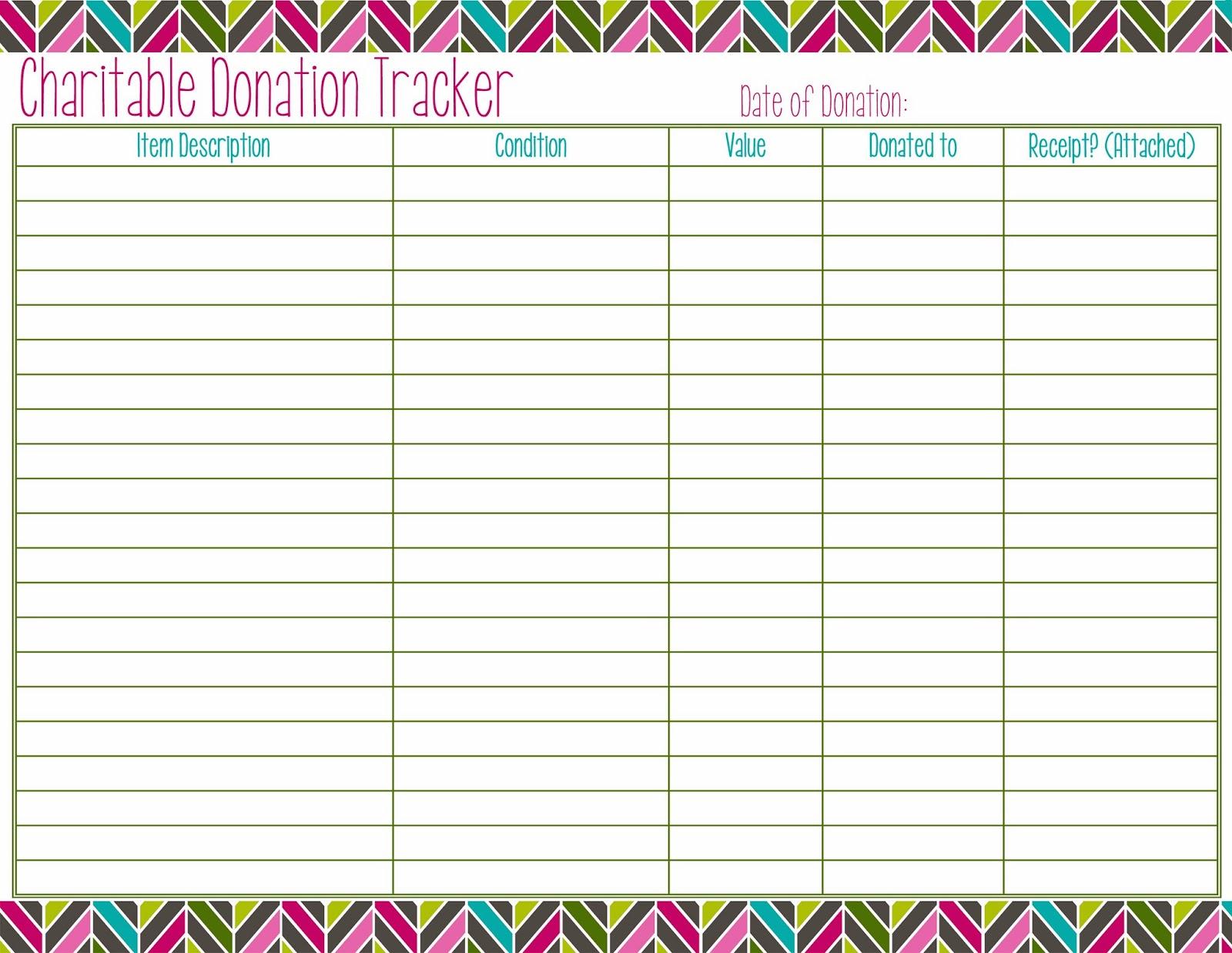 Organize Your Move Charitable Donation Tracker