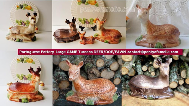 Vintage Portuguese Pottery, signed michel caugant. Large Game faience Tureens Deer Doe Fawn Figural