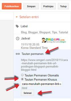 Cara Merubah Tautan Permanen Link Postingan Blogspot [Lengkap]