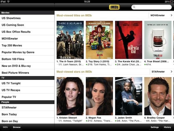 Details about IMDB in an iPad?