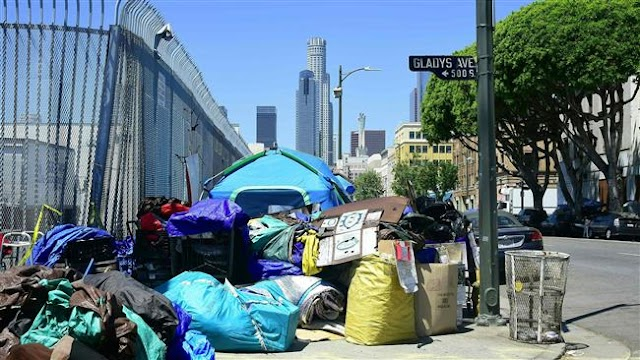 Number of homeless in Los Angeles, California rises sharply
