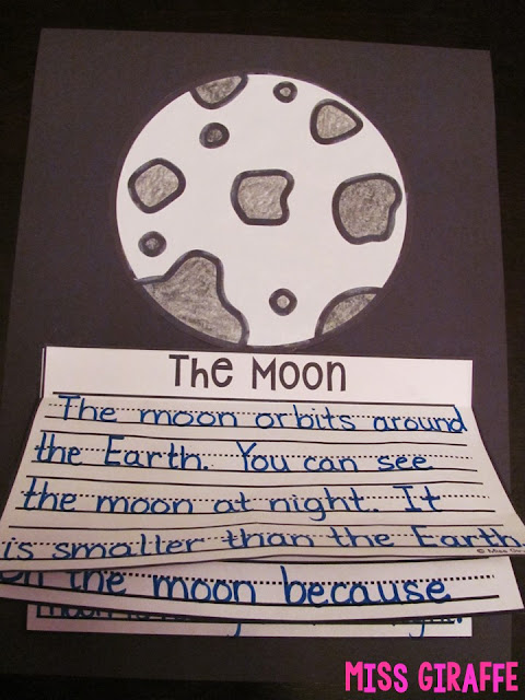 The moon activities for kids like this fun writing craft kids can make to show what they are learning about the moon