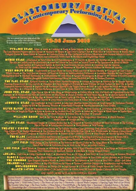 Glastonbury 2016 full lineup poster, Glastonbury 2016 lineup images, Glastonbury 2016 set times, Glastonbury 2016 stage times, Glastonbury 2016 lineup pdf download