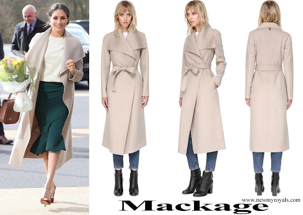 Meghan Markle wore Mackage Mia Sand Belted Wool Coat