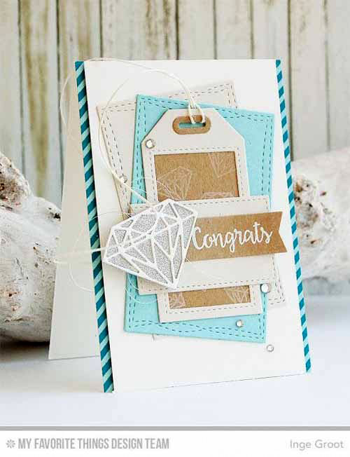 Diamond Congrats Card by Inge Groot featuring Bling it On stamp set, Diamonds, Tag Builder Blueprints 5, and Wonky Stitched Rectangle STAX Die-namics #mftstamps