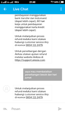 Cara Refund Tiket Pesawat Lewat Airy