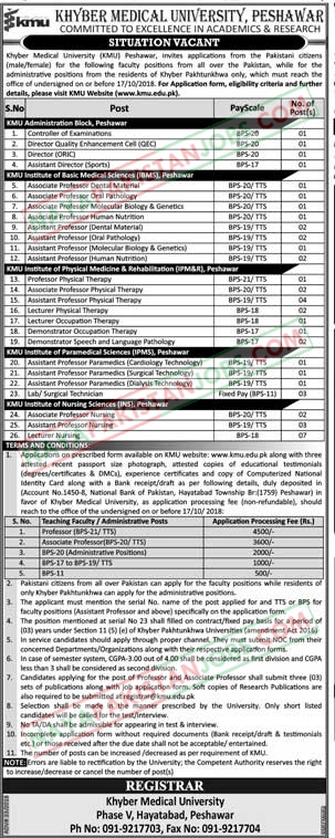 Latest Vacancies Announced in www.kmu.edu.pk kmu Khyber Medical University Peshawar 29 September 2018 - Naya Pak Jobs