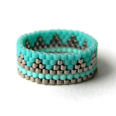купить бирюзовое кольцо из бисера этно кольцо с орнаментом