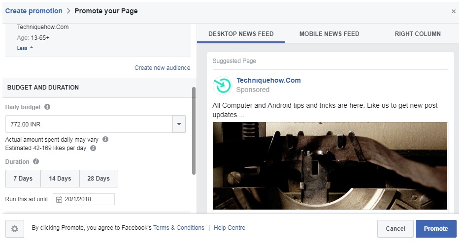 promote facebook page form