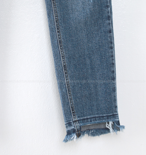 Asymmetrical Raw Hem Distressed Jeans