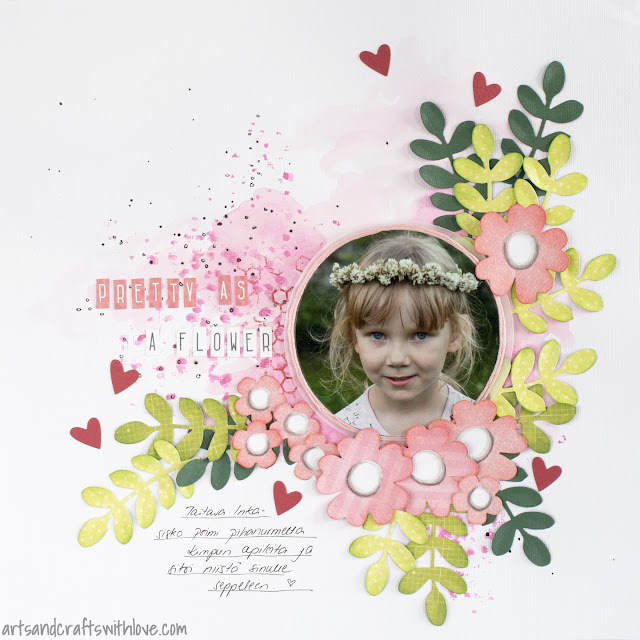 Scrapbooking layout for May '15 123 Get Scrappy: Pretty As A Flower