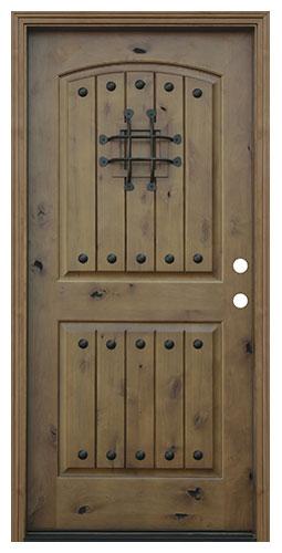 Pacific Entries Rustic V-groove 2 Panel Knotty Alder Exterior Door #speakeasy #rusticdoor