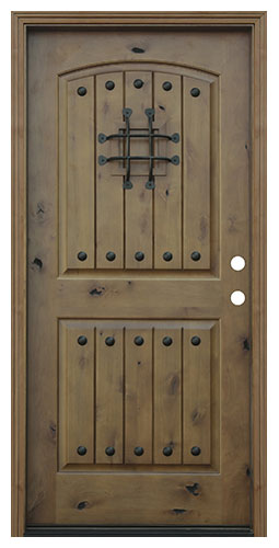 Pacific Entries Rustic V-groove 2 Panel Knotty Alder Exterior Door