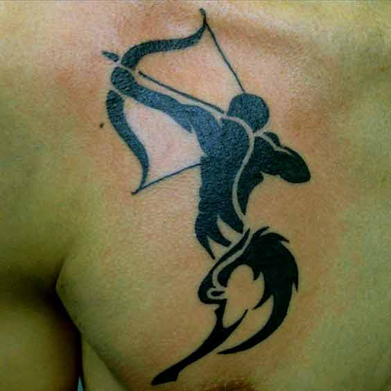 Tribal Sagittarius zodiac symbol tattoo design on chest