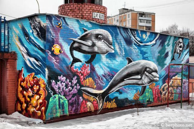 дельфины рисунок