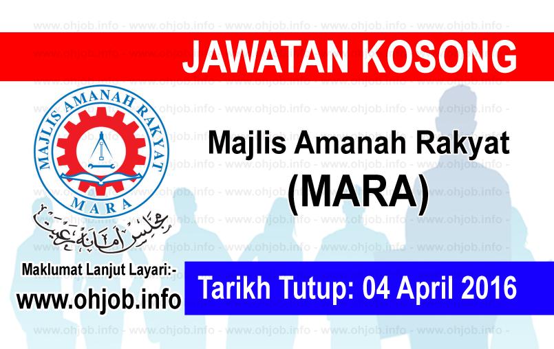 Jawatan Kerja Kosong Majlis Amanah Rakyat (MARA) logo www.ohjob.info april 2016