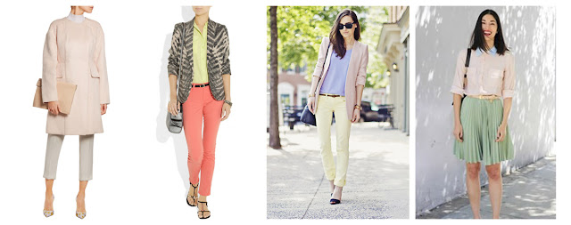 Одежда разных пастельных цветов в одном комплекте