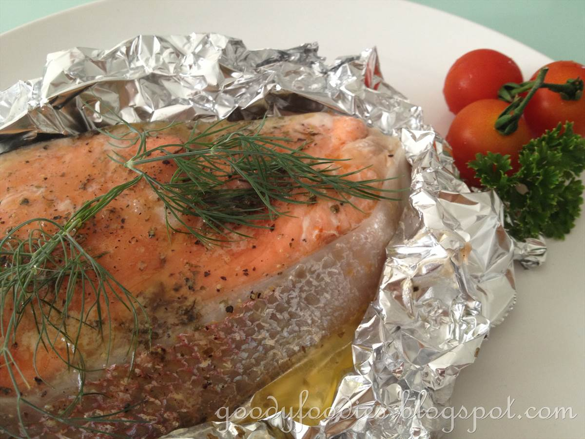 goodyfoodies recipe easy oven baked salmon trout asian western style. Black Bedroom Furniture Sets. Home Design Ideas