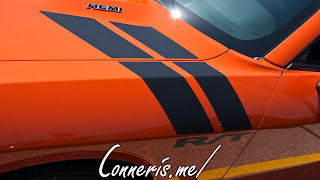 Dodge Challenger RT War Paint Stripes Go Mango